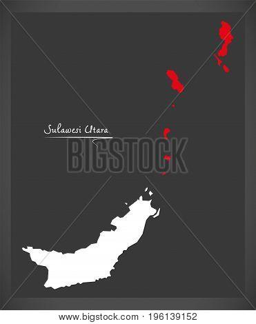 Sulawesi Utara Indonesia Map With Indonesian National Flag Illustration