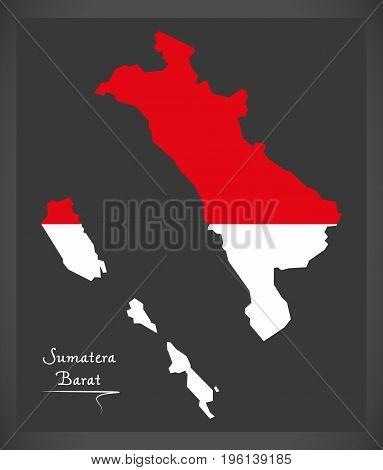 Sumatera Barat Indonesia Map With Indonesian National Flag Illustration