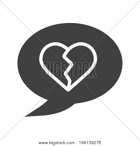 Breakup message glyph icon. Silhouette symbol. Chat box with heartbreak. Negative space. Vector isolated illustration