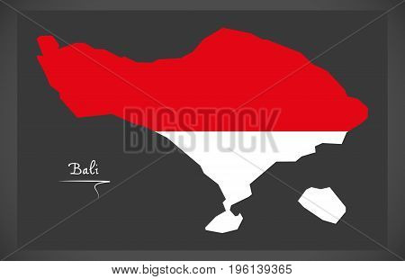 Bali Indonesia Map With Indonesian National Flag Illustration