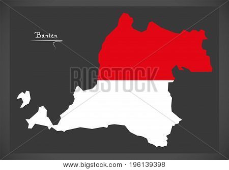 Banten Indonesia Map With Indonesian National Flag Illustration