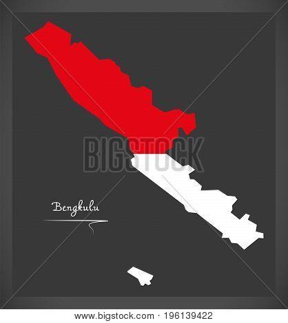 Bengkulu Indonesia Map With Indonesian National Flag Illustration