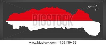 Gorontalo Indonesia Map With Indonesian National Flag Illustration