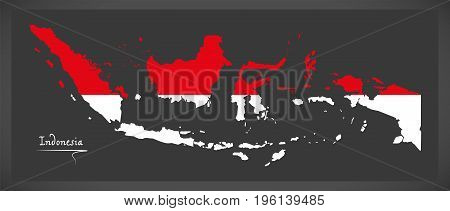Indonesia Map With Indonesian National Flag Illustration