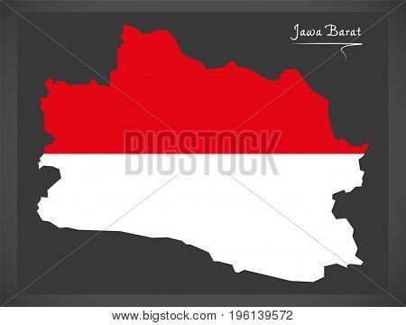 Jawa Barat Indonesia Map With Indonesian National Flag Illustration