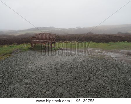 Bench in a cloudy day in Skye