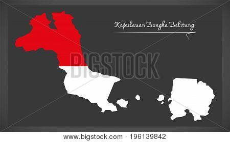 Kepulauan Bangka Belitung  Indonesia Map With Indonesian National Flag Illustration