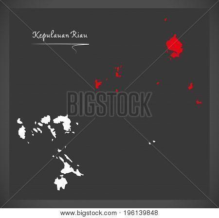 Kepulauan Riau Indonesia Map With Indonesian National Flag Illustration