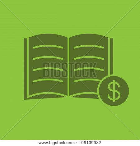 Buy book glyph color icon. Silhouette symbol. Bookstore. Textbook with dollar sign. Negative space. Vector isolated illustration