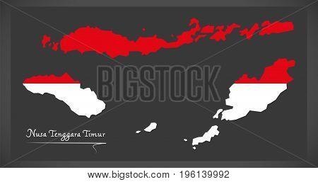 Nusa Tenggara Timur Indonesia Map With Indonesian National Flag Illustration