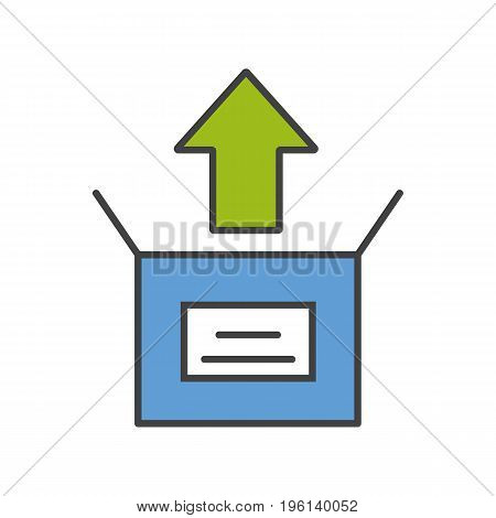 Unboxing color icon. Box unpacking. Isolated vector illustration