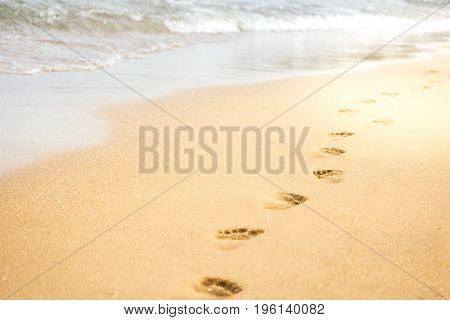 Footprints on the beach close up background.