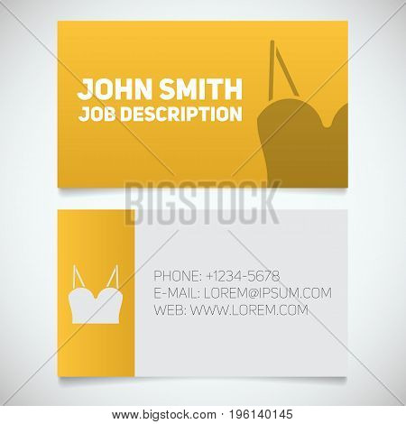 Business card print template with women's top logo. Women's underwear shop. Stationery design concept. Vector illustration