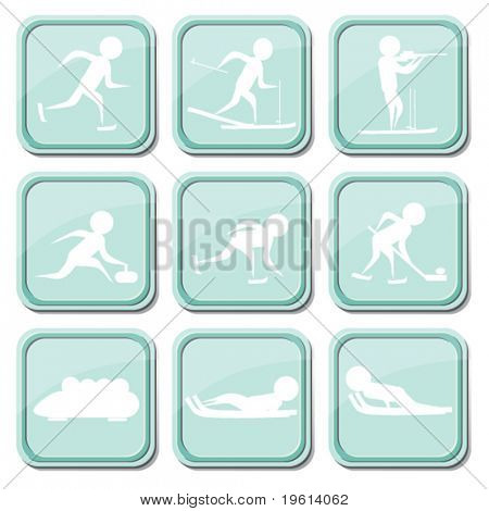 Set of icons on the winter types of sport.