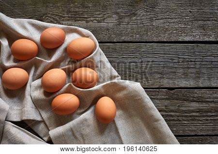 Eggs on the vintage table. Close up