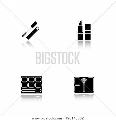 Women's cosmetics drop shadow black glyph icons set. Mascara, eye shadow, blusher, lipstick. Isolated vector illustrations