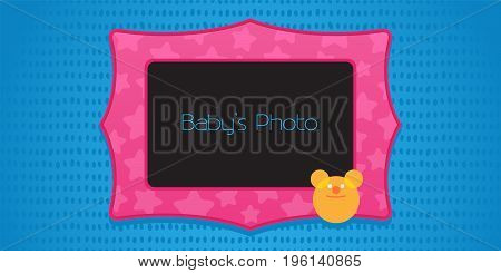 Photo frame collage vector illustration. Design element with cute teddy bear and photo frame template for kid's collage