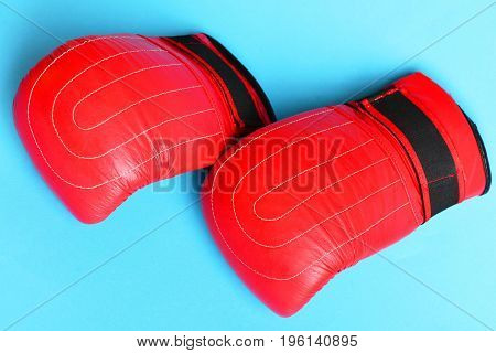 Pair Of Leather Boxing Sportswear. Professional Box And Strong Fight