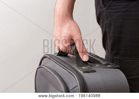 Man Ready For Travelling With His Luggage