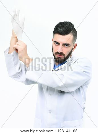 Medicine And Professional Skills Concept: Physician Isolated On White Background