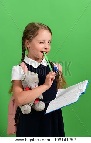 Back To School And Education Concept. Girl Holds Teddy Bear