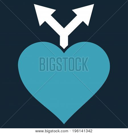 Love Variants flat icon. Vector bicolor blue and white symbol. Pictogram is isolated on a dark blue background. Trendy flat style illustration for web site design, logo, ads, apps, user interface.