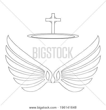 Wings of an angel with a halo. Flat design vector illustration vector. poster