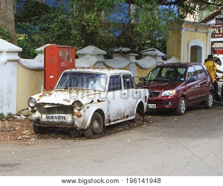 Goa India - March 01 2015: Old rusty abandoned car brand Ambassador