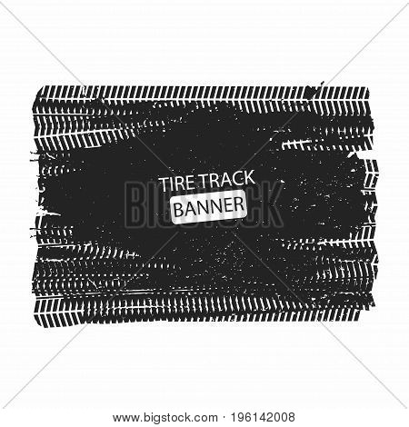 Tire tracks. Tire tracks texture banner isolated on white background. Vector