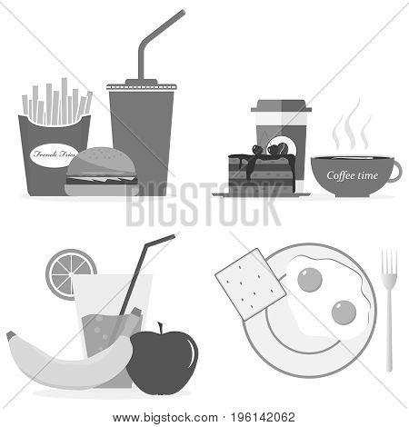A Set Of Breakfasts In Gray, Coffee, Hamburger, Cola, Banana, Fried Eggs