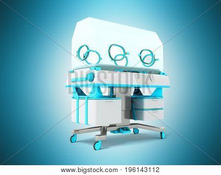 Incubator For Children Blue 3D Rendering On Blue Background