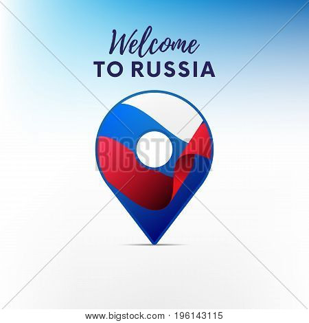 Flag of Russia in shape of map pointer or marker. Welcome to Russia. Vector illustration.
