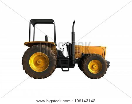 Mini Tractor Yellow 3D Render On White Background No Shadow