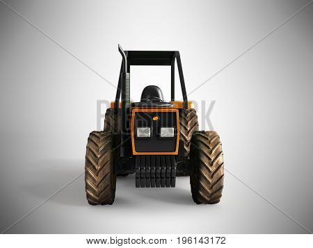 Tractor Orange Front 3D Render On Gray Background