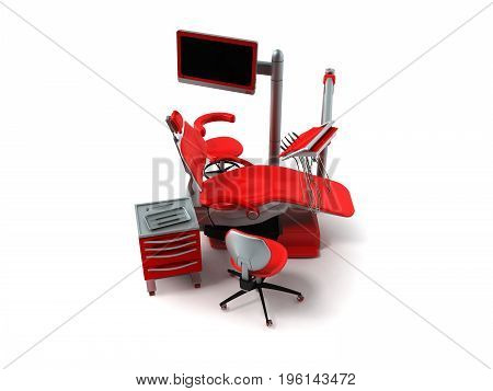 Dental Chair With Side Tables Red 3D Render On White Background