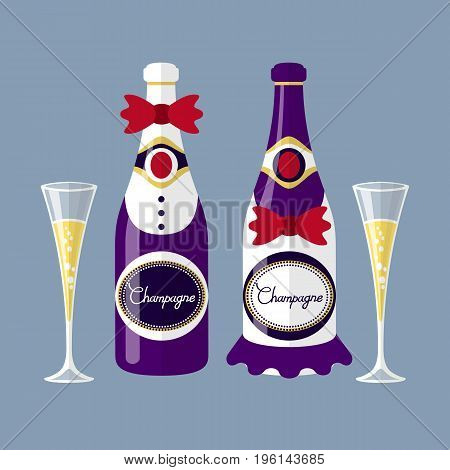 vector Champagne of the newlyweds bottle with glass flat design modern illustration. art