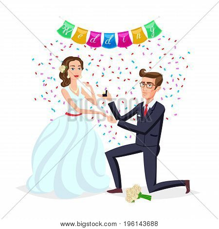 Bride and groom as love wedding couple illustration. Cartoon husband and romantic wife ceremony female with flowers. Marriage ceremony invitation card celebration engagement for happy people theme art