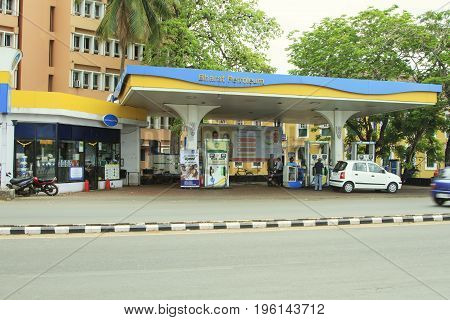 Goa India - March 01 2016: Gas station Bharat Petroleum in Panjim