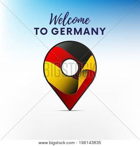 Flag of Germany in shape of map pointer or marker. Welcome to Germany. Vector illustration.