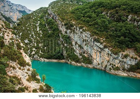 Cliffs on the Verdon River on cloudy day, the river flows into the Lake of Sainte-Croix in the Verdon National Park. In Alpes-de-Haute-Provence department, Provence region, southeastern France