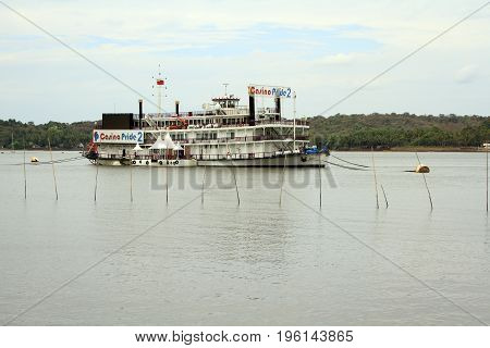 Goa India - March 01 2015: Ship - casino on Mandovi river in Panaji