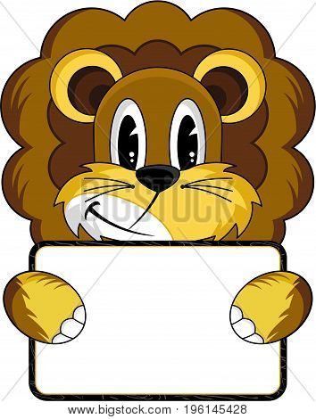 Cute Cartoon Lion the King of the Jungle Holding a Sign
