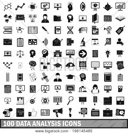 100 data analysis icons set in simple style for any design vector illustration