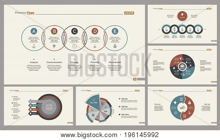 Infographic design set can be used for workflow layout, diagram, annual report, presentation, web design. Business and management concept with process and pie charts.