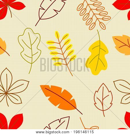 Seamless floral pattern with stylized autumn foliage. Falling leaves in simple style.