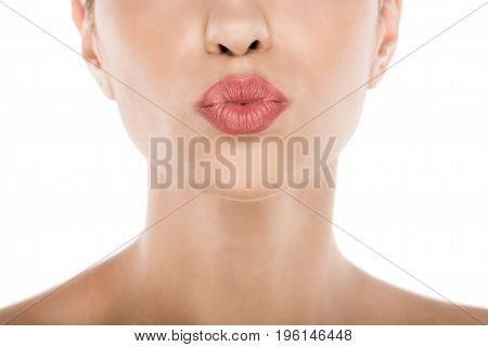 Cropped View Of Beautiful Woman With Perfect Skin Blowing Kiss, Isolated On White