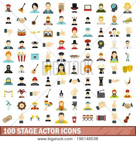 100 stage actor icons set in flat style for any design vector illustration