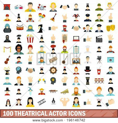 100 theatrical actor icons set in flat style for any design vector illustration
