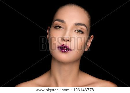 Gorgeous Fashionable Woman With Pink Sparkles On Lips, Isolated On Black