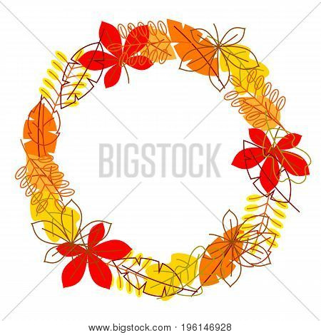 Frame with stylized autumn foliage. Falling leaves in simple style.